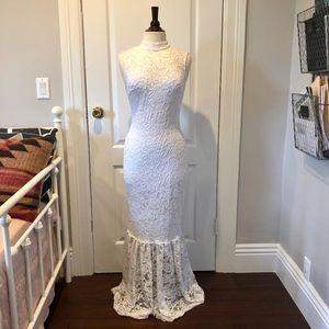 White, Mock-Neck, Lace Maxi Dress